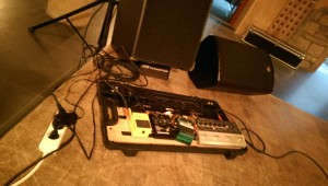 Setup mit gekipptem Basscombo vorne.