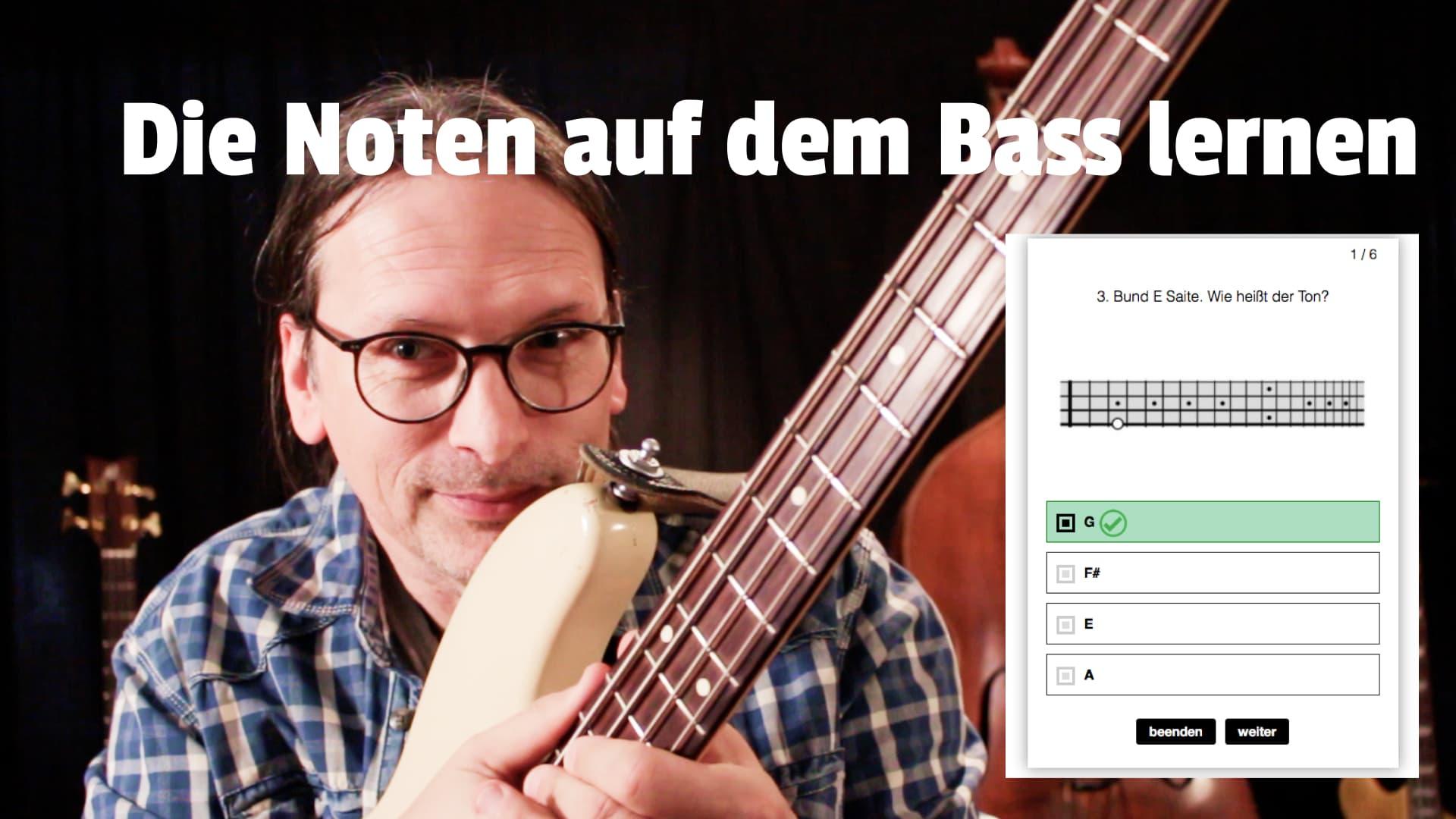 Noten auf dem Bass lernen